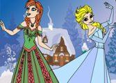 Раскраска Эльза и Анна (2)